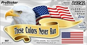 "ProSticker 907 (One) 3"" x 6"" American Flag These Colors Never Run Decal Sticker"