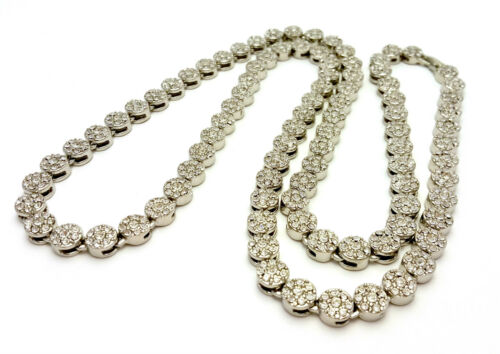 ALL TIME HIT MENS HIP HOP LAB DIAMOND 14K GOLD FLOWER CLUSTER ROSARY NECKLACE