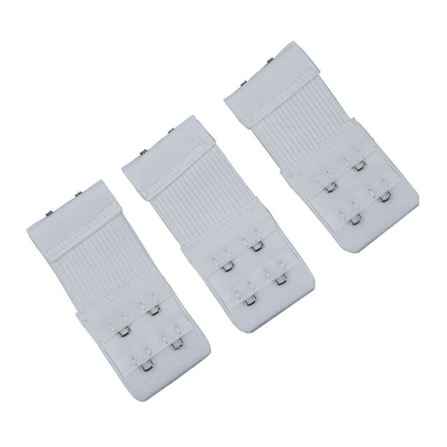 New 3pcs Women White 2 Rows Hook and Eye Tape Stretch Bra Strap Extenders FP