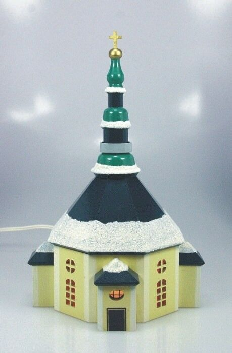 Seiffener église 20 cm Couleuré, éclairage Intérieur, Décoration de Table les Monts Métallifères Neuf