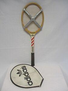 Détails sur Raquette tennis ILIE NASTASE vintage ADIDAS en bois ads 040 + housse