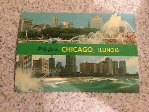 POSTCARD UNUSED ILLINOIS, CHICAGO BUCKINGHAM MEMORIAL FOUNTAIN & OAK ST. BEACH