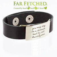 Leather Bracelet Quote Bracelet Silver You May Say A Dreamer Black