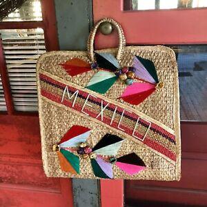 MEXICAN Straw XL VINTAGE Purse Bag Raffia Souvenir Wicker