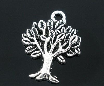 40 Antiksilber Baum Anhänger Perlen Beads 22x17mm