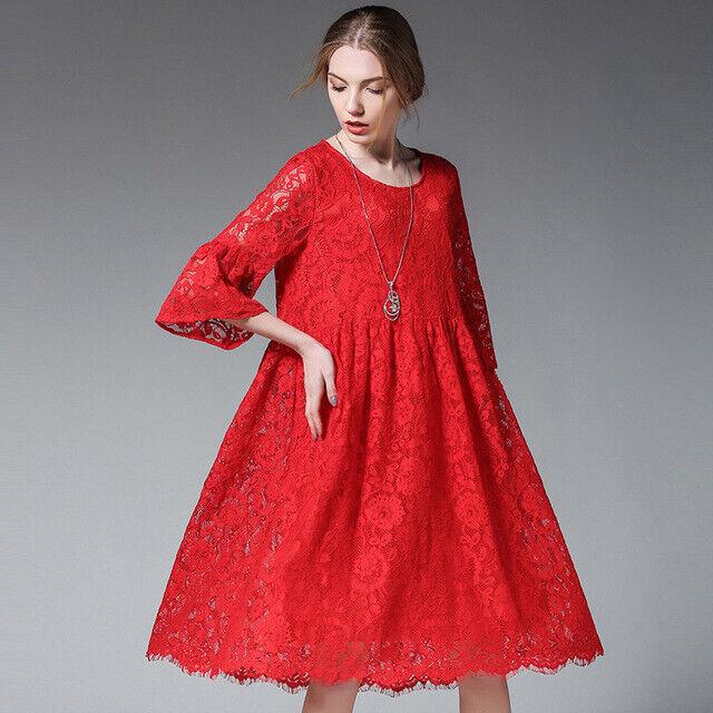 Elegante vestito abito maxi amplio rouge pizzo scampanato morbido 4968