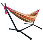 Portable Double Hammock Outdoor Patio Space Saving Steel Stand Carrying Case New