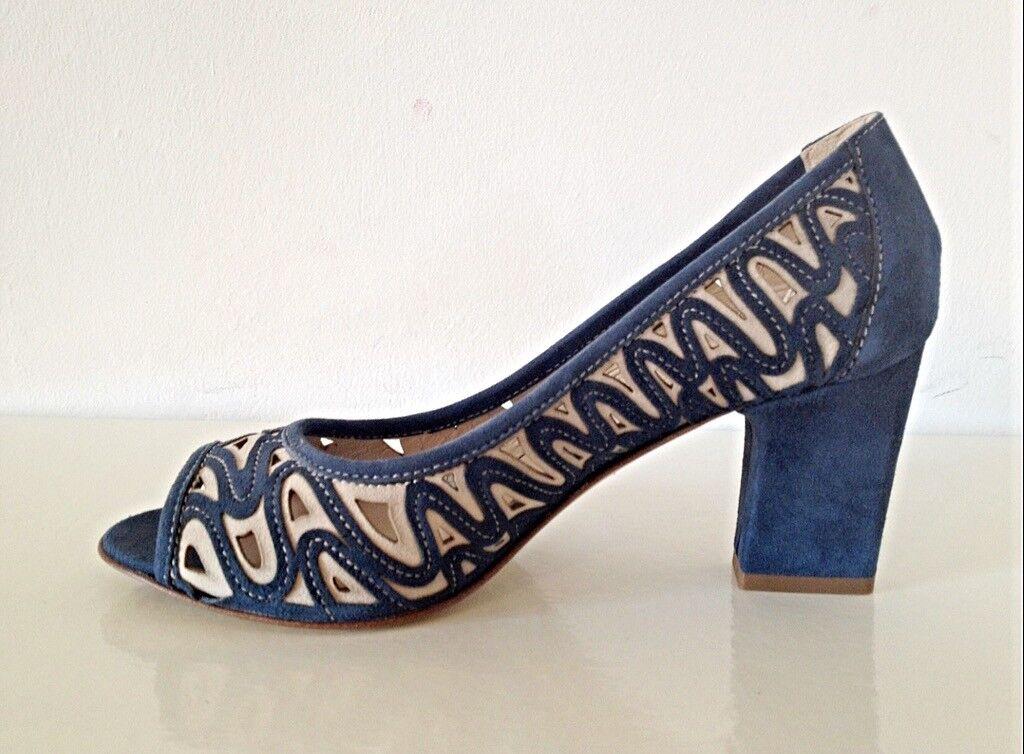 Laser Work Sandals Made in  Heels Suede