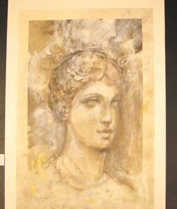 Original-Mixed-Media-Mono-Print-by-Francois-Fressinier-Bust-de-Femme