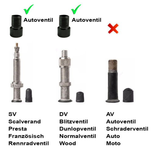 2x Fahrrad Color Ventil-Adapter DV SV Französisches auf Dunlop Autoventil AV KFZ
