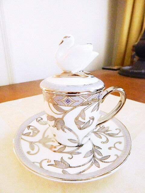 Prouna HERA Coverouge Mocca Cup & Saucer SWAN  Mocha Espresso Cappuccino - NEW