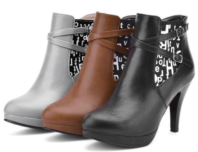 Braun Grau Absatz Schwarz Schuhe Stiefel 9 Leder 8327 CxshtBQrdo