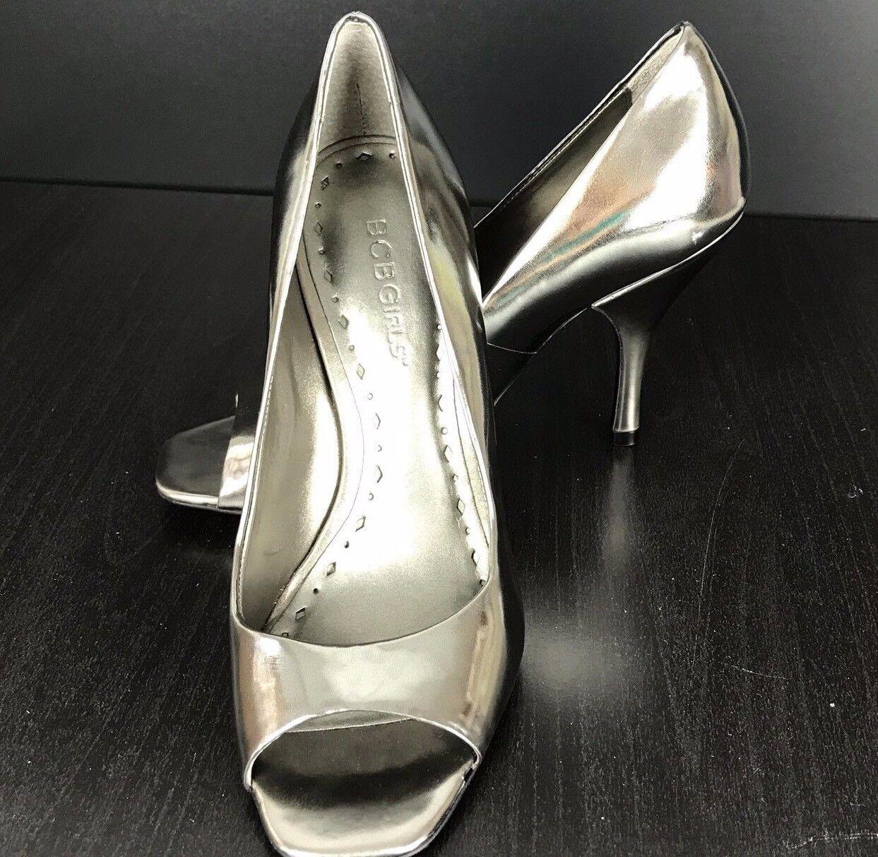 BCBGirls Ariel Silver Mirror Patent Metallic HeelsPeep Toes Size 6B Pump