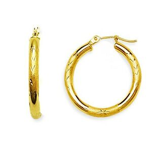 0e5f65e65a0816 Children's 14K Yellow Gold Baby Diamond-cut Round Hoop Hoops ...