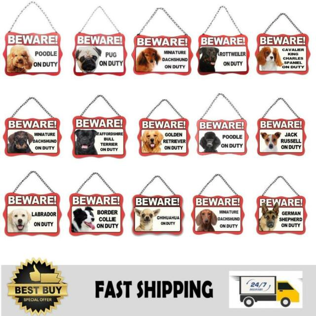 Dog Metal Sign Beware of Dogs Guard Dog on Duty Warning Gate & Home Signs Notice