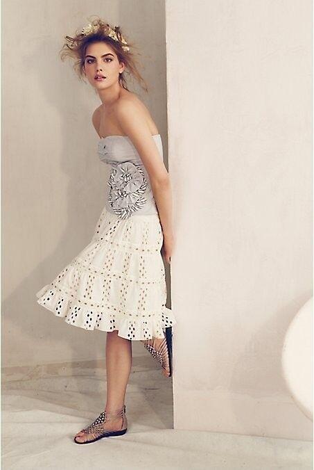 Anthropologie Airy Eyelet Skirt Anna Sui M new spring WHITE Crochet feminine 6 8