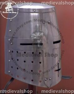 Details about SALE MEDIEVAL TEMPLAR CRUSADER KNIGHT ARMOR GREAT HELMET  REENACTMENT HELM