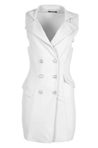 Womens Ladies Tuxedo Collared Sleeveless Open Front Blazer Waistcoat Jacket Coat