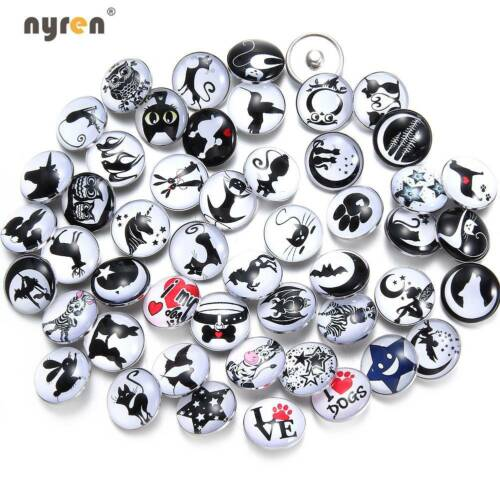 Mixed Pattern 18mm Snap Button Love Dog Theme Glass Snap Charms For Snap Jewelry