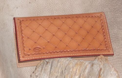 "/""Free Initials/"" G/&E Custom Saddle Tan Western Leather Checkbook Cover Holder"