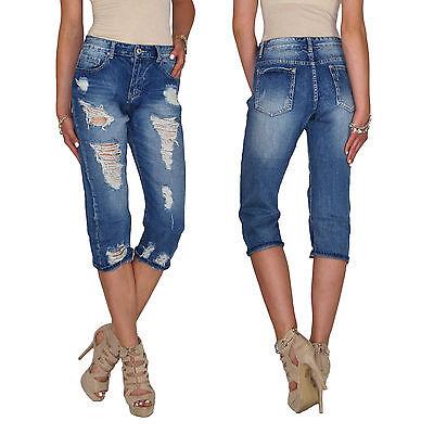 Details zu Damen High Waist Boyfriend Mom Capri Chino 34 Hose Röhren Jeans Risse E131
