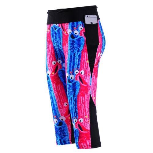 Cartoon blue pink animals  printed cropped elastic 7//10 long Leggings S-4XL 1190