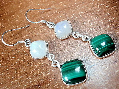Moonstone and Malachite Earrings with Soft Corners 925 Sterling Silver Dangle