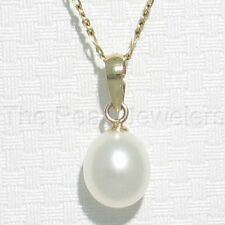 Details about  /14k White Solid Gold Diamond Hearts 8-8.5mm White Freshwater Pearl Pendant TPJ
