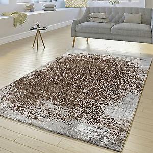 designer teppich wohnzimmer kurzflor teppich florale ornament muster grau beige ebay. Black Bedroom Furniture Sets. Home Design Ideas