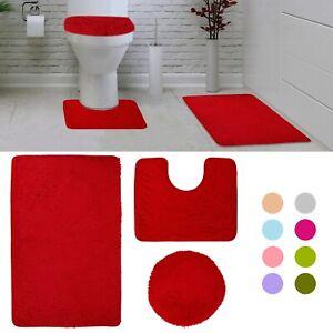 3 Piece Bathroom Rug Set Bath Contour Mat Lid Cover Plush Non Slip Absorbent Ebay