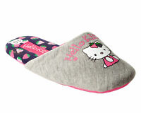 GIRLS OFFICIAL HELLO KITTY GREY CASUAL SLIP ON MULE SLIPPERS KIDS UK SIZE 10-2