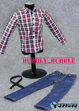 """1/6 Red White Plaid Long Sleeves Shirt Jeans For 12"""" Male Figure SHIP FROM USA"""