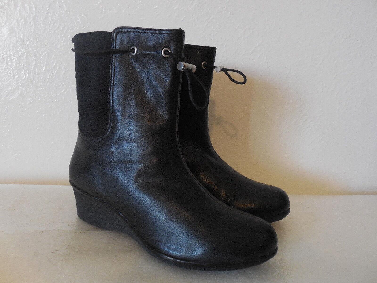 299 NEW Sz.7.5 TARYN Rosa damen  LEATHER schwarz Stiefel