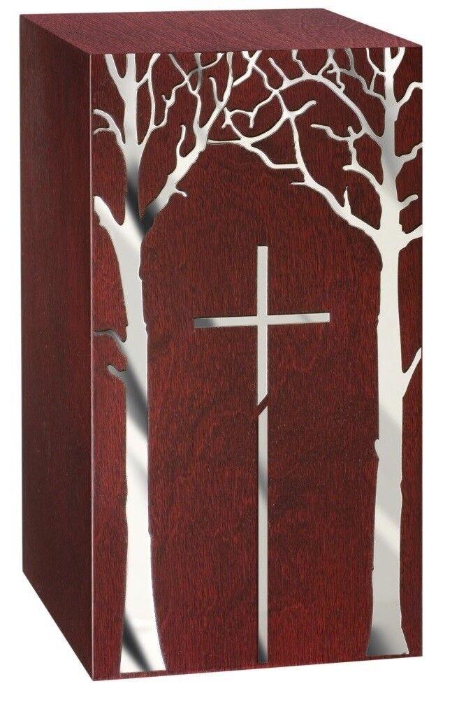 Artistico Legno Urna con Tree&cross.funeral per Ashes.cremation Commemorazioni