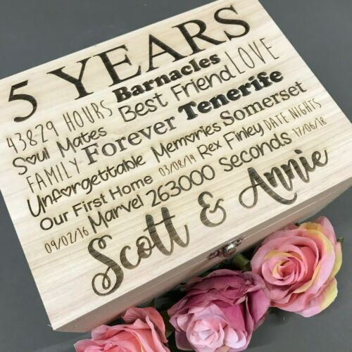 Personalised Wedding Anniversary gift 5 years wood Custom Wooden Box Keepsake