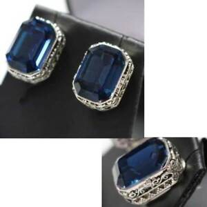 Vintage-Carved-Antique-Blue-Radiant-Cut-Sapphire-Earrings-14K-White-Gold-Plated