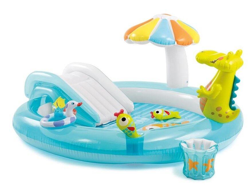 Spielpool Spielpool Spielpool Planschecken Pool Krokodil Rutsche + Wassersprüher Zubehör Ø 203 INTEX 17fcdf