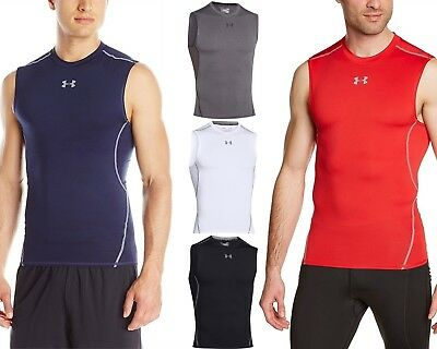 Under Armour 1257469 Men/'s Black Large Heatgear Sleeveles Compression Shirt