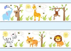Safari Jungle Animals Wallpaper Border Wall Art Decals Baby Boy Nursery Stickers