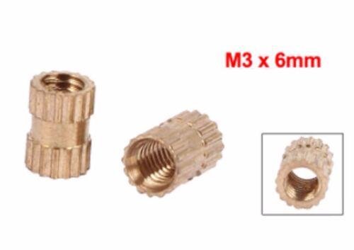 FILO 20X M3 L = 6mm inserto in ottone Stampaggio A Iniezione Dado Zigrinato filettato M3x6mm