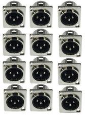 12x XLR Einbaubuchse male 3-pol D-Typ Einbaukupplung Stecker-Buchse 3 pol D-Form