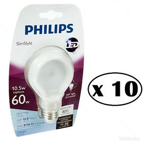 10 philips slimstyle 10 5w 60w 5000k 800 lumens a19. Black Bedroom Furniture Sets. Home Design Ideas