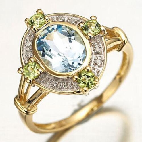 Taille 6,7,8,9,10 Woman/'s Blue Aquamarine 18K Gold Filled Fiançailles Anneaux Mariage