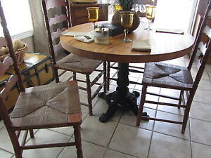 Antique Round Butcher Block Dining Table Cast Iron Base 4 Ladder Back Chairs Ebay