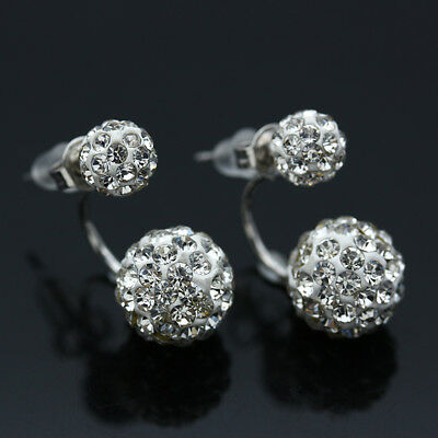 Elegant 925 Sterling Silver Crystal Pearl Zircon Studs Wedding Party Earrings AU