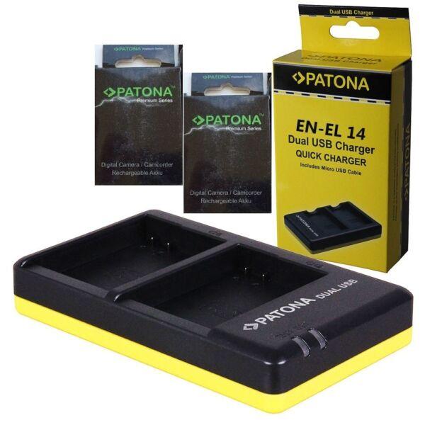 Diligent X2 Batterie En-el14 Patona Premium +caricabatteria Mh-24 2 Slot Patona X En-el14