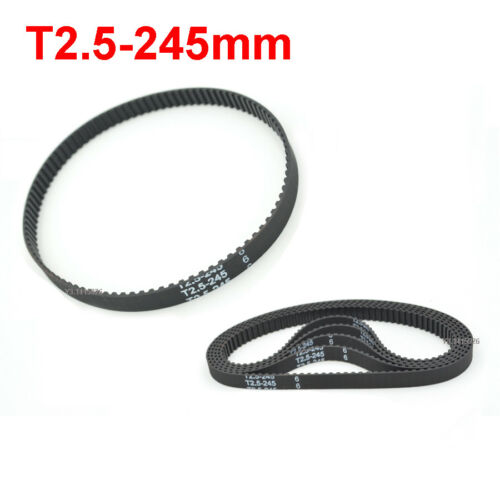 T2.5 Rubber Closed Loop Synchronous Belt Perimeter 245mm Width 6mm Pitch 2.5mm