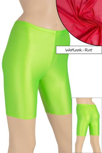 Damen Wetlook Radler starker Glanz stretch shiny shorts elastisch Hauteng S XL
