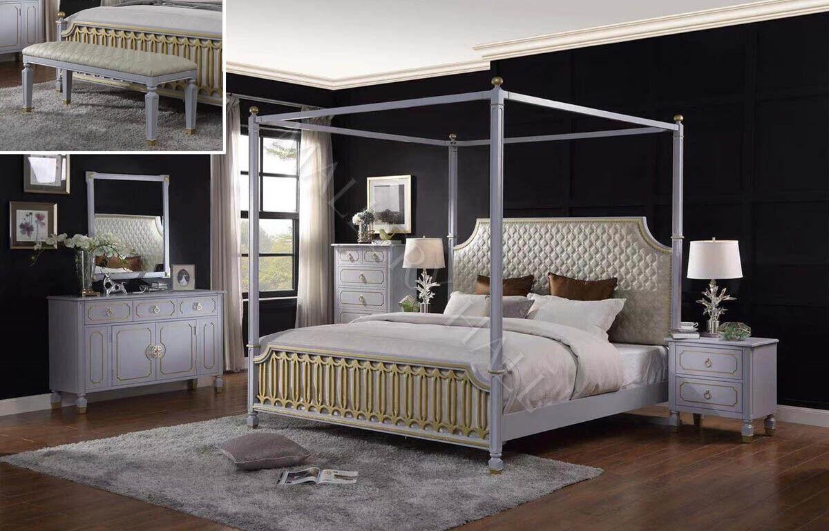Eastern King Canopy Bed W 2 Nightstands Dresser Mirror Chest Bench Grey Gold Ebay