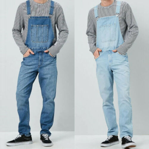 Mens Denim Jeans Overalls Dungarees Work Pants Bib And Brace Jumpsuit Trousers